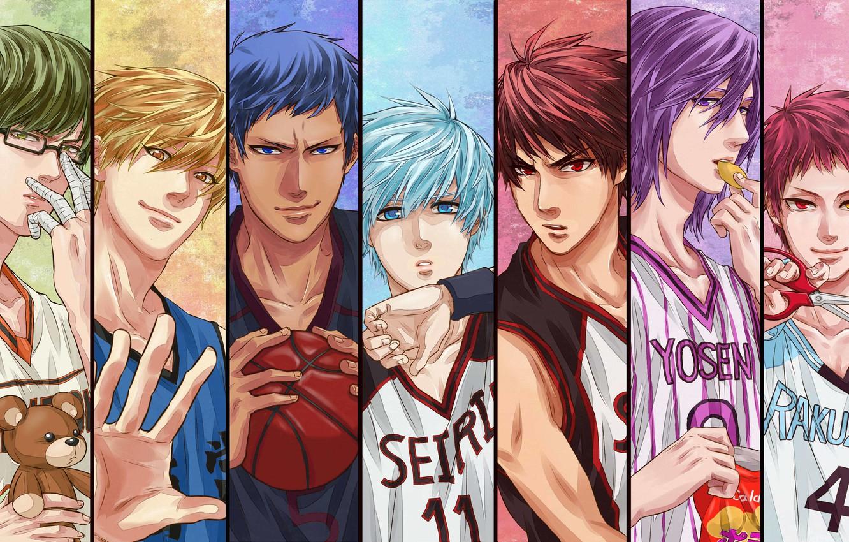 Фото обои спорт, аниме, баскетболисты, Atsushi Murasakibara, Tetsuya Kuroko, Daiki Aomine, Kuroko no Basket, Shintaro Midorima, Taiga …