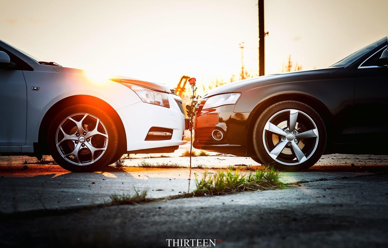 Фото обои машина, авто, цветок, Audi, роза, Chevrolet, auto, photographer, Cruze