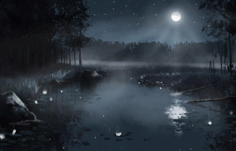 Фото обои лес, небо, звезды, деревья, пейзаж, ночь, природа, туман, озеро, камыши, луна, рисунок, арт