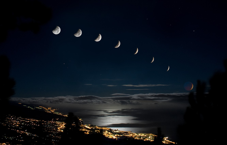 Фото обои город, огни, Луна, затмение
