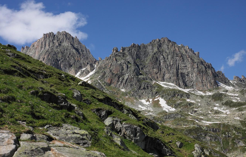 Фото обои grass, sky, mountains, rocks, Austria, Alps