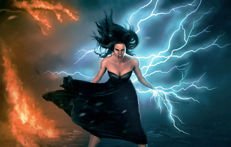 Девушка и молния картинка
