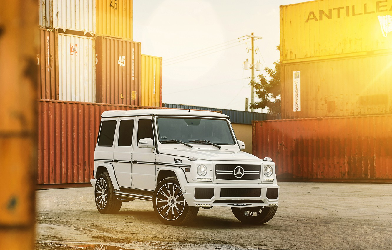 Фото обои Белый, Тюнинг, Mercedes, Диски, Гелик, G63, MC Customs Vellano