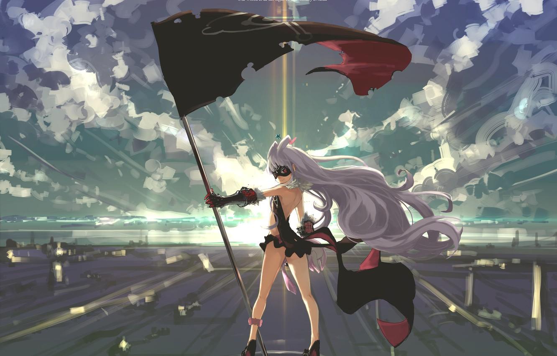 Фото обои небо, девушка, облака, свет, закат, улыбка, аниме, флаг, маска, арт, sekai seifuku, hoshimiya kate, kumonji …