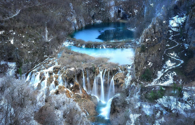 Фото обои озеро, скалы, водопад, Republika Hrvatska, national park, Plitvice Lakes
