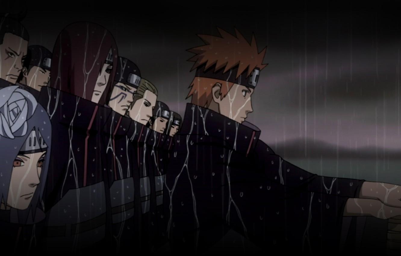 Фото обои ночь, Naruto, ливень, отряд, ninja, Akatsuki, Yahiko, Nagato, Konon