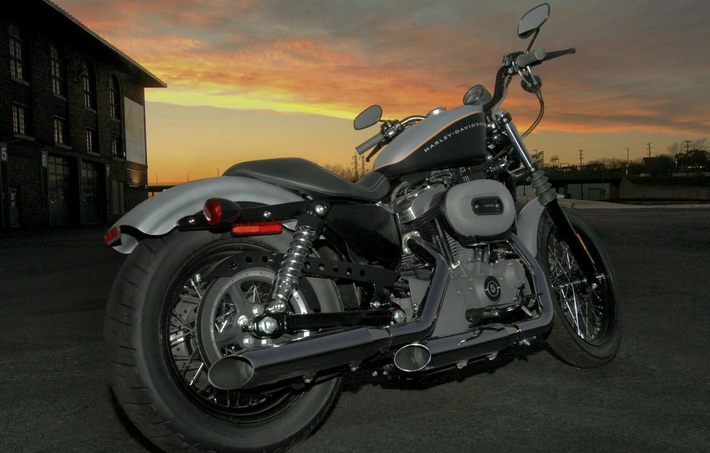Фото обои закат, Небо, Мотоцикл