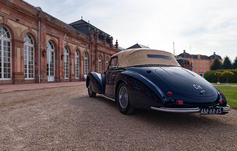 Фото обои ретро, Германия, классика, Germany, Delahaye, Баден-Вюртемберг, Baden-Württemberg, Шветцингенский дворец, 1946 Delahaye 135M Cabriolet, Schwetzingen Palace