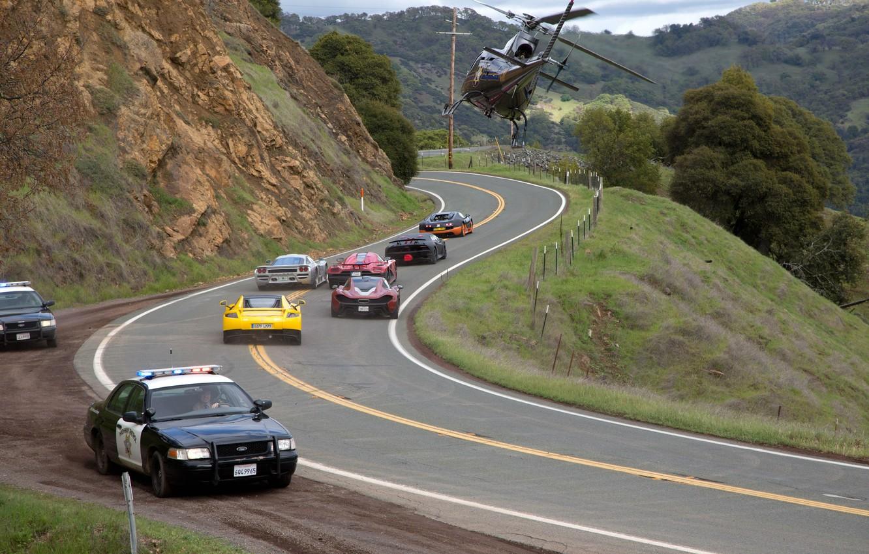 Фото обои Полиция, Погоня, Bugatti Veyron, Фильм, Need for Speed, Lamborghini Sesto Elemento, Жажда Скорости, Вертолёт, Movie, …