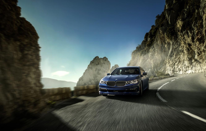 Фото обои Дорога, Синий, BMW, Движение, Автомобиль, xDrive, 2016, Alpina В7