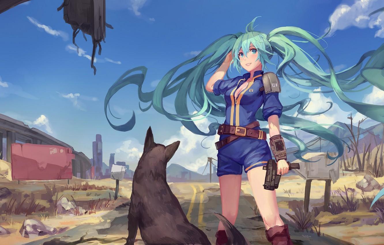 Фото обои небо, девушка, облака, пистолет, оружие, собака, аниме, арт, vocaloid, hatsune miku, crossover, Fallout 4, atdan