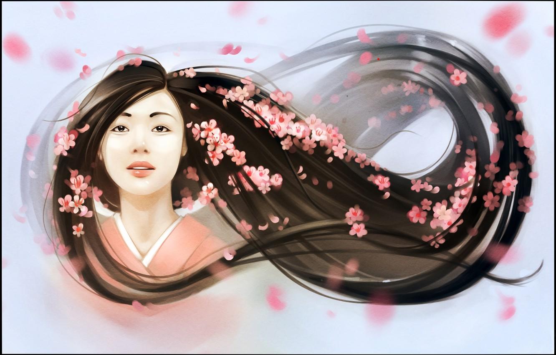 Фото обои девушка, лицо, волосы, весна, лепестки, арт