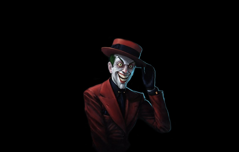 Фото обои красный, улыбка, batman, бэтмен, шляпа, Джокер, костюм, комикс, Joker, бешеный, интеллигент