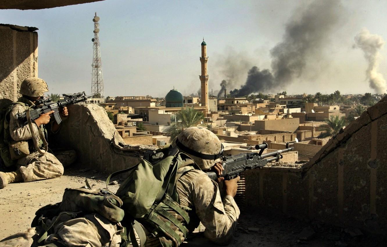 Фото обои оружие, война, солдаты, Ирак