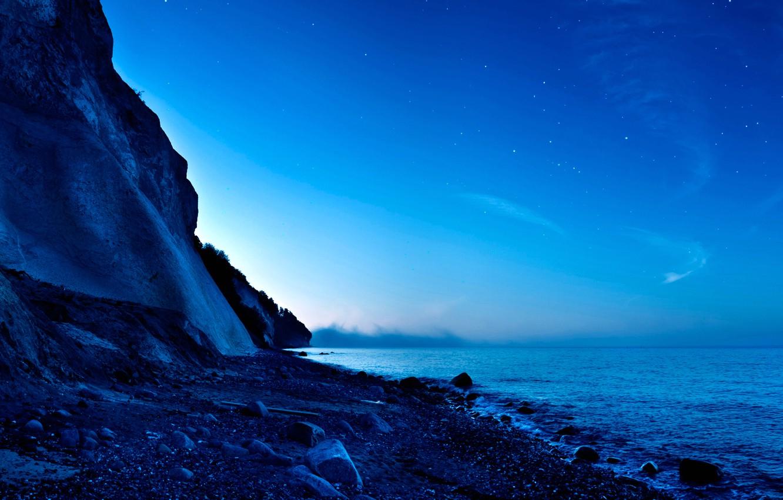 Фото обои небо, закат, горы, планета, спутник, панорама