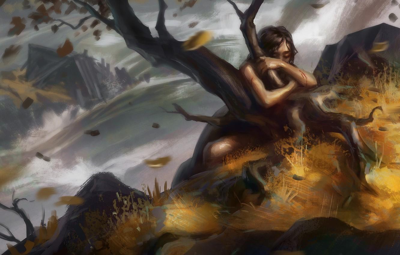 Фото обои листья, вода, девушка, брызги, дерево, арт, держится