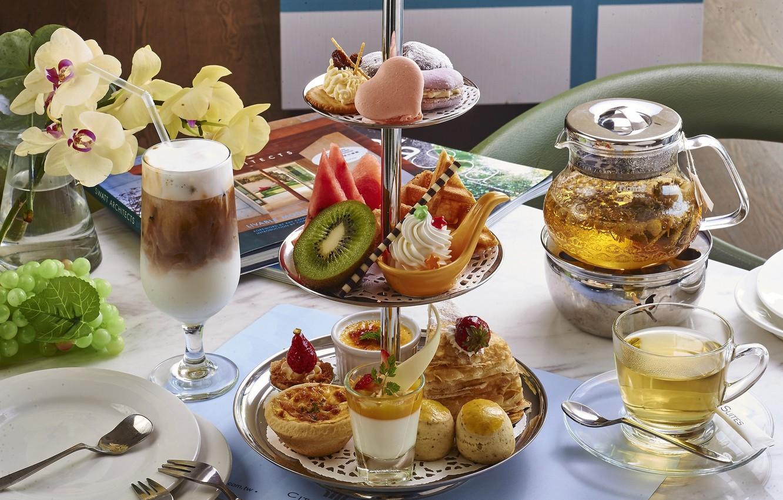 Фото обои чай, арбуз, киви, коктейль, орхидея, пирожные, ассорти, десерты