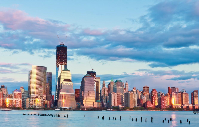 Фото обои небо, облака, закат, река, здания, Нью-Йорк, небоскребы, вечер, USA, США, мегаполис, New York, бирюзовое