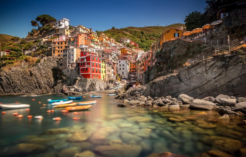 Обои дома, лигурийское побережье, скалы, чинкве-терре, бухта, риомаджоре, лодки. Города foto 7