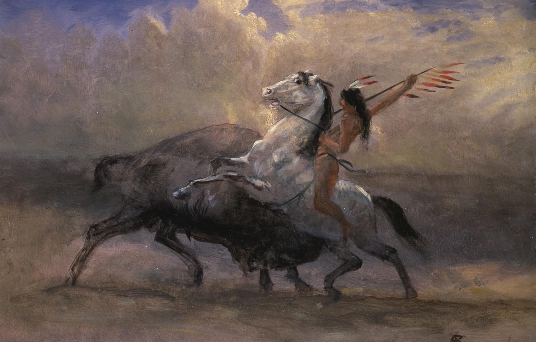 Фото обои картина, охота, индеец, жанровая, Альберт Бирштадт, Последний Бизон