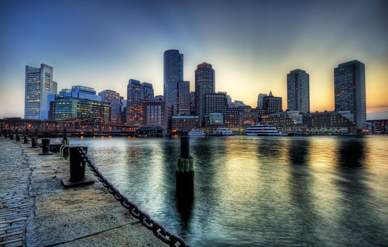 Фото обои река, набережная, Бостон