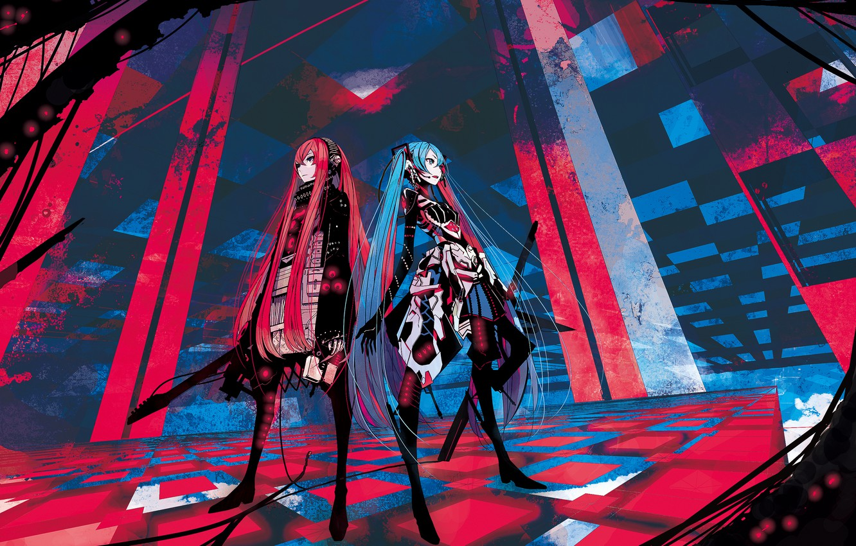 Фото обои абстракция, девушки, гитара, арт, vocaloid, hatsune miku, megurine luka