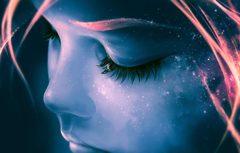 Фото обои небо, девушка, звезды, лицо, ресницы, Космос, галактика, девочка, черты лица