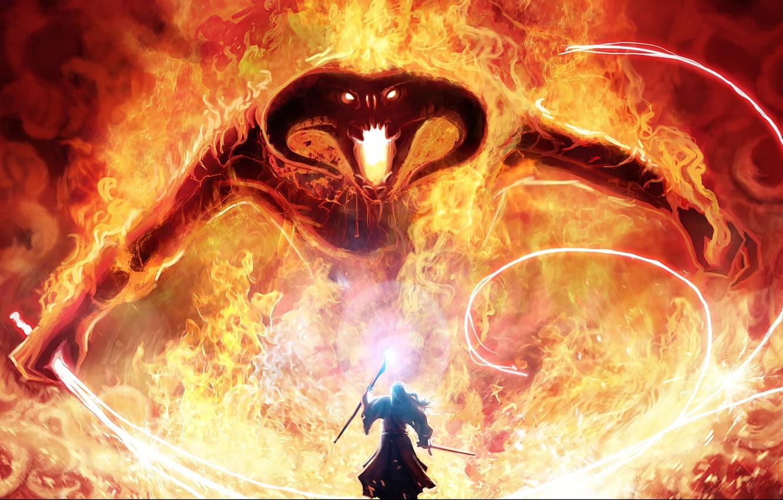 Фото обои магия, монстр, меч, властелин колец, арт, маг, посох, Balrog, гендальф, кнут, the lord of the …