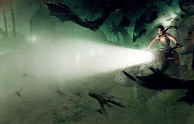Фото обои девушка, свет, мотоцикл, летучие мыши, lara croft, tomb raider
