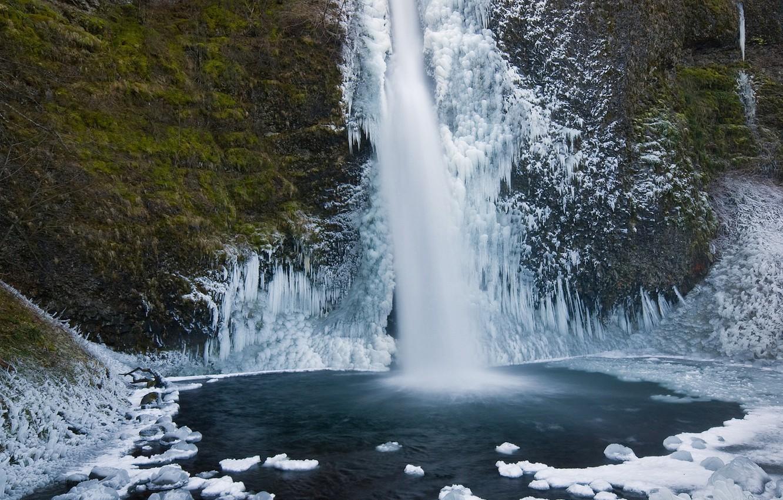 Фото обои лед, зима, водопад