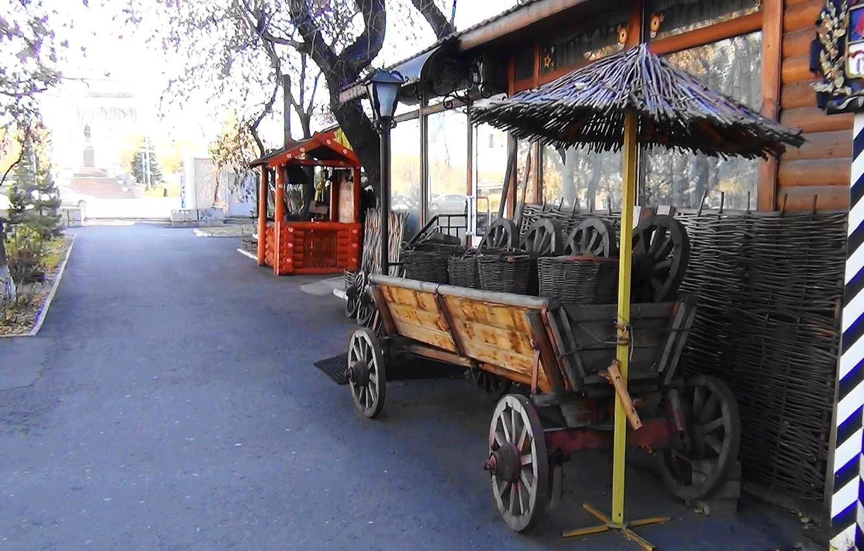Фото обои старина, Улица, телега, ярмарка