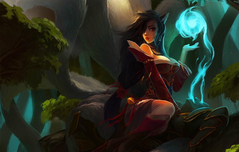 Фото обои лес, девушка, магия, дух, воин, арт, уши, труп, lol, League of Legends, хвосты, Ahri, Kan …