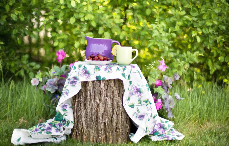 Фото обои лето, природа, ягоды, пень, сад, тарелка, чашка, кувшин, скатерть