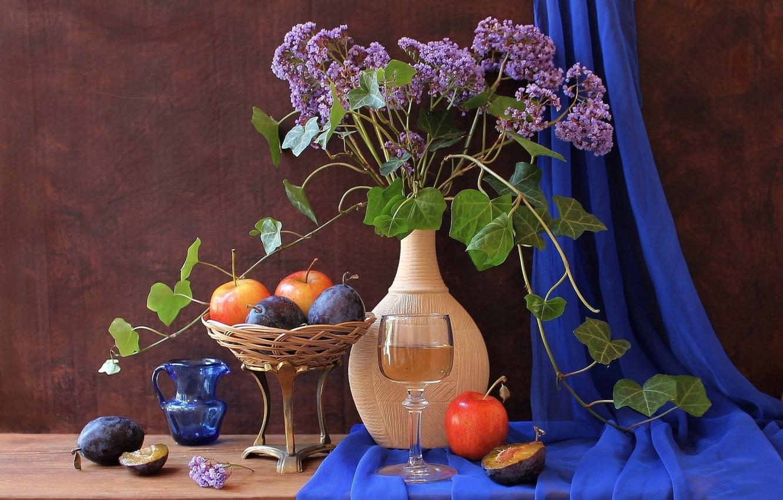 Фото обои цветы, ваза, фрукты, натюрморт, сливы, кувшие