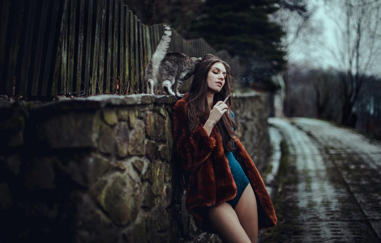 Фото обои кошка, девушка, Magda