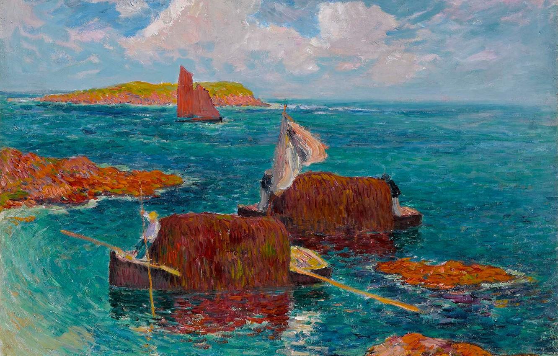 Фото обои море, небо, облака, камни, скалы, лодка, картина, парус, морской пейзаж, Henri Moret, Lifeboats with Seaweeds …