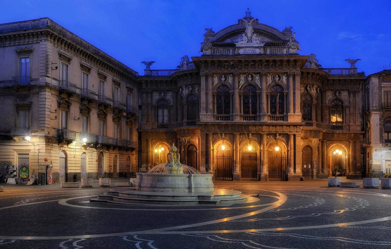 Обои опера, Катания, ночь, Театр Массимо Беллини, дома, сицилия. Города foto 9