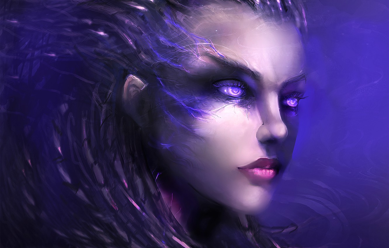 Фото обои лицо, игра, арт, персонаж, StarCraft 2, Sarah Kerrigan, вщгляд