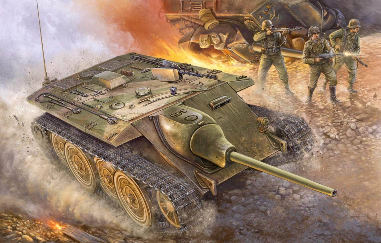 Фото обои war, art, painting, ww2, German E10 Tank Destroyer