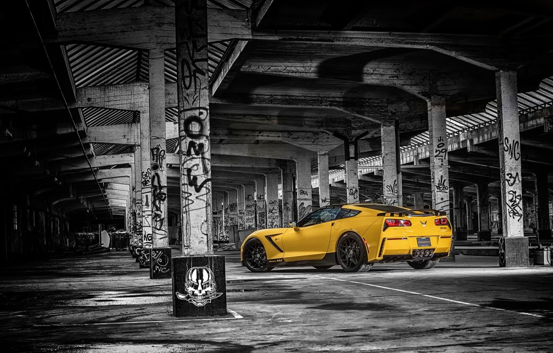 Фото обои желтый, фон, тюнинг, Corvette, Chevrolet, Шевроле, вид сзади, tuning, Stingray, Корвет, HPE700, Ruffer Performance
