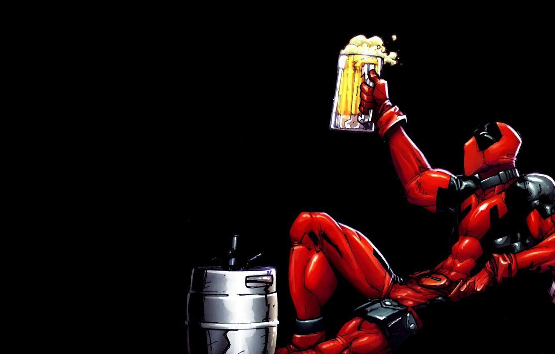 Фото обои пиво, кружка, DeadPool, Бочок
