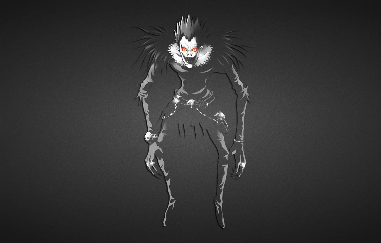 Фото обои темный фон, Death Note, Тетрадь смерти, дядька ужасный, Рюк