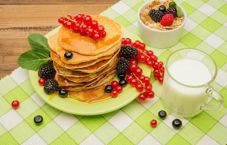 Фото обои ягоды, завтрак, мёд, блины, fresh, berries, breakfast, мюсли, pancake