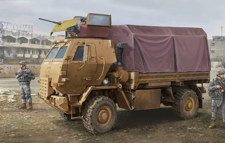 Фото обои оружие, рисунок, арт, солдаты, экипировка, пулемёт, тактический, средний, ВС США, Family of Medium Tactical Vehicles, …