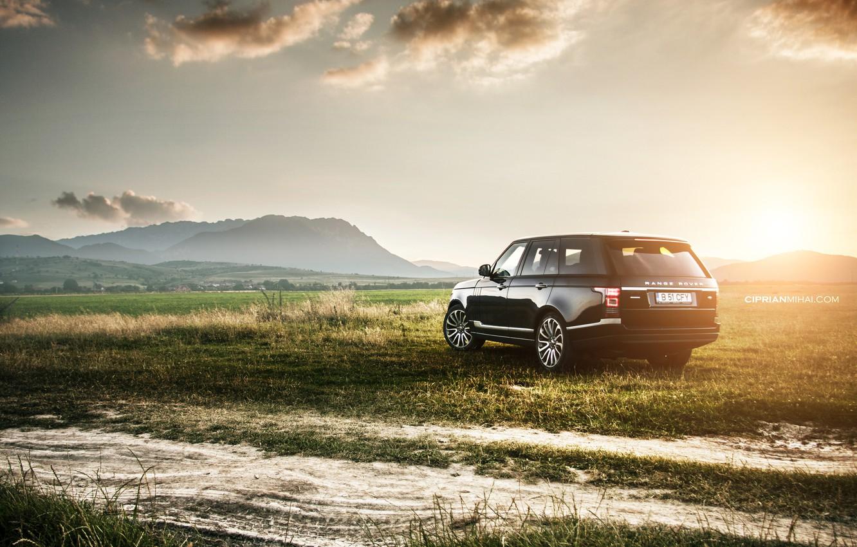 Фото обои поле, закат, Land Rover, Range Rover IV