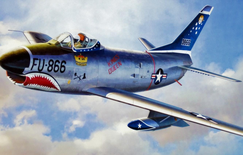 Обои painting, ww2, jet, Airplane, aviation, North american f-86d sabre, war, jet. Авиация foto 10