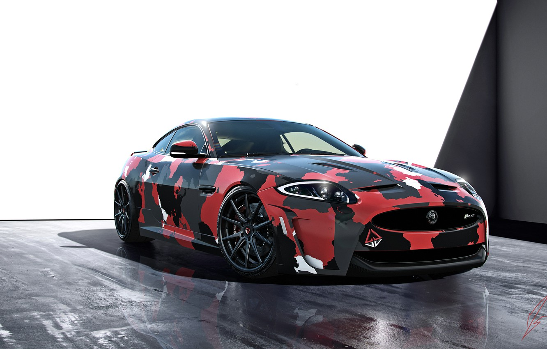 Фото обои Jaguar, Car, Front, Studio, Sport, XKR-S, Сamouflage