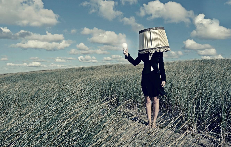 Фото обои девушка, лампа, абажур