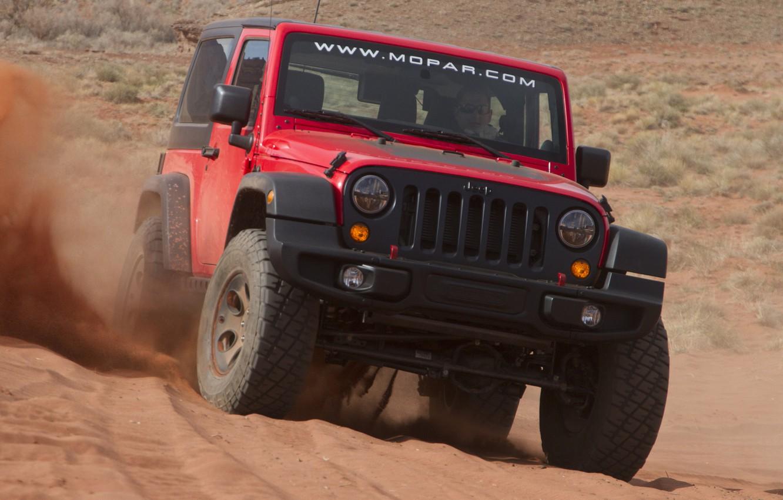 Фото обои песок, машина, Concept, джип, концепт, передок, Slim, Wrangler, Jeep