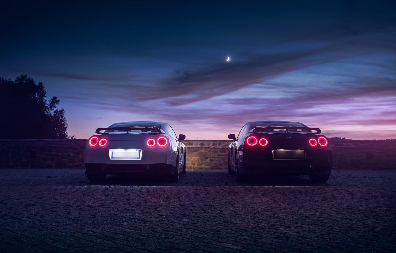 Фото обои GTR, Moon, Nissan, Sky, Black, Lights, White, R35, Rear, Nigth